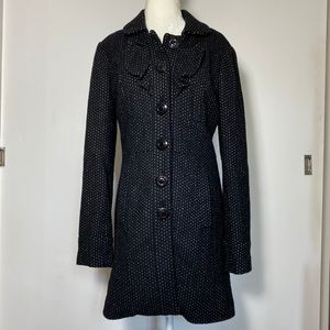 Anthropologie Wool Coat with Ruffle Details